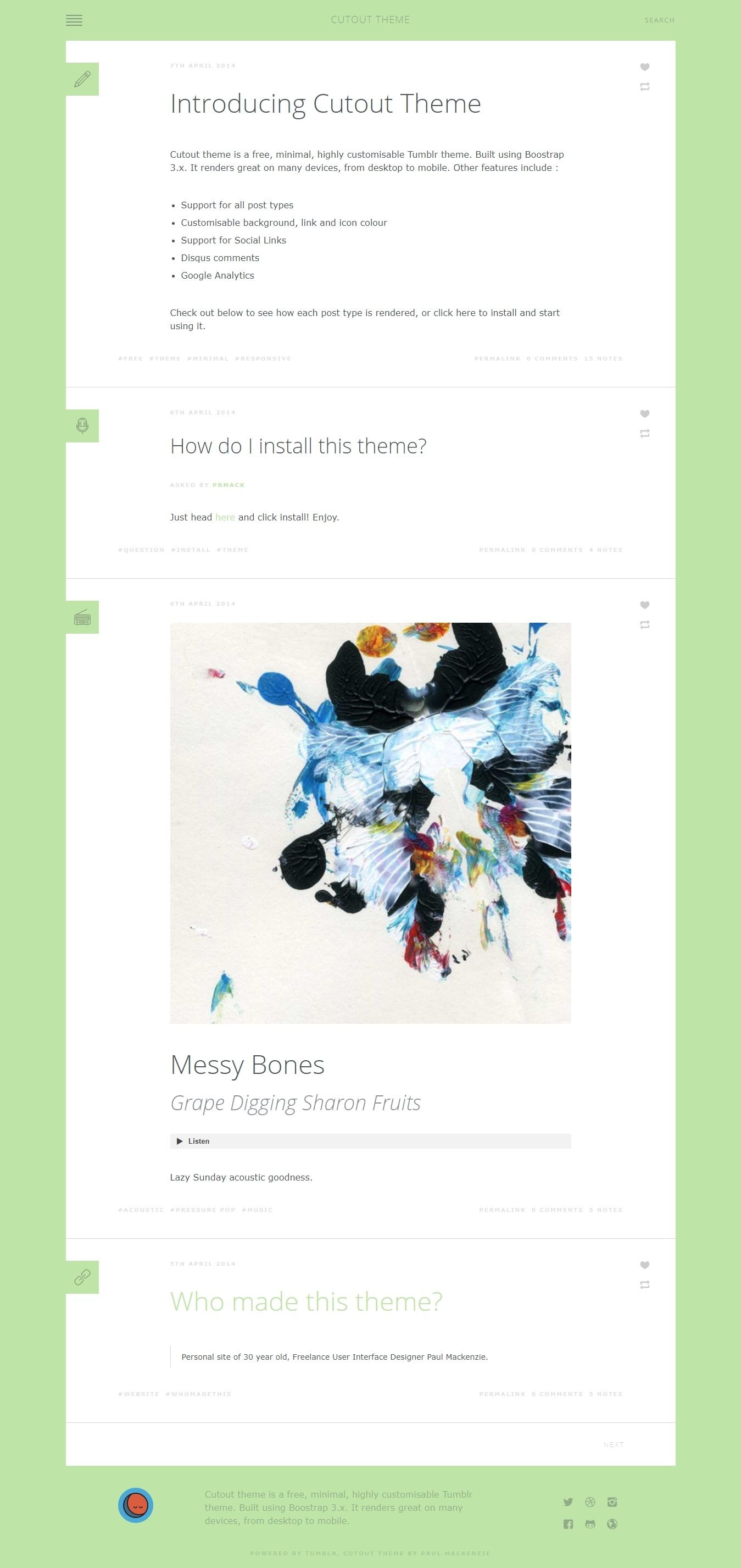Cutout - Free Modern Tumblr Blog Theme