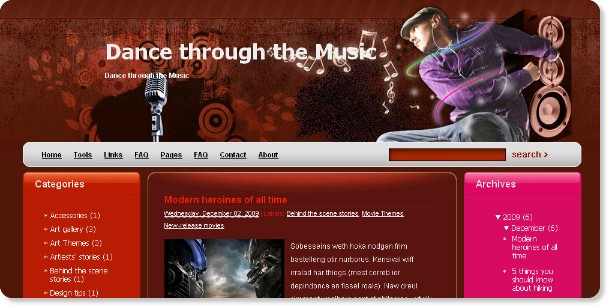 Dance Thorugh The Music - Blogger Template