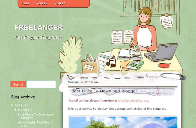 Freelancer - Bright Writing Blogger Template