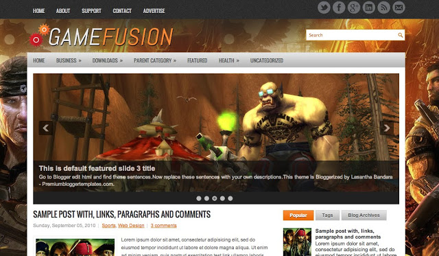 Gamefusion - Two Column Blogger Template