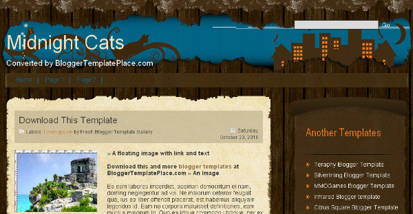 Midnight Cats - Wood Style Blogger Template