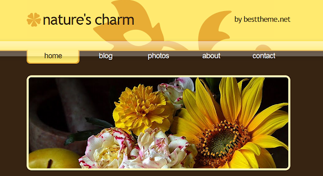 Natures Charm - Brown Floral Blogger Template