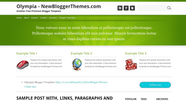 Olympia - Two Column Blogger Template