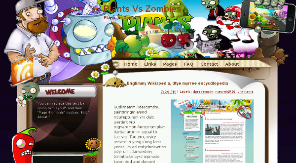 Plants Vs Zombies - Gaming Blogger Template