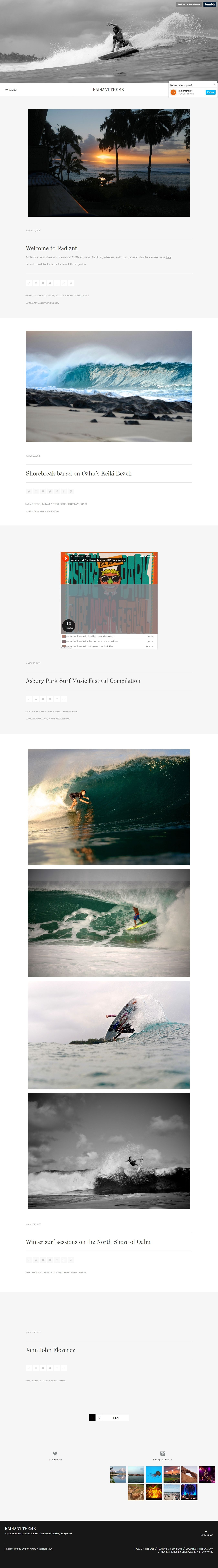 Radiant - Free Minimal Tumblr Blog Theme