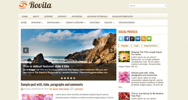 Rovita - One Column Blogger Template