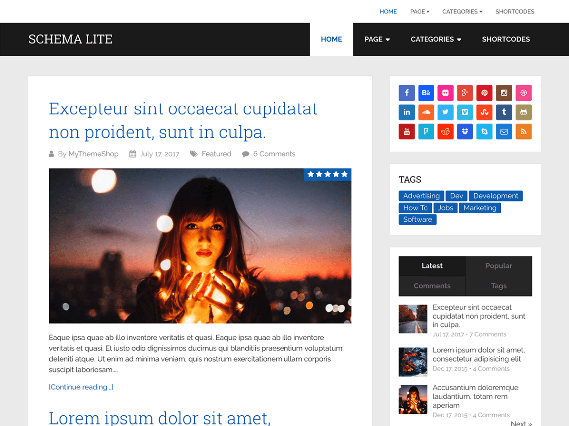 Schema Lite - Free WordPress Blog Theme