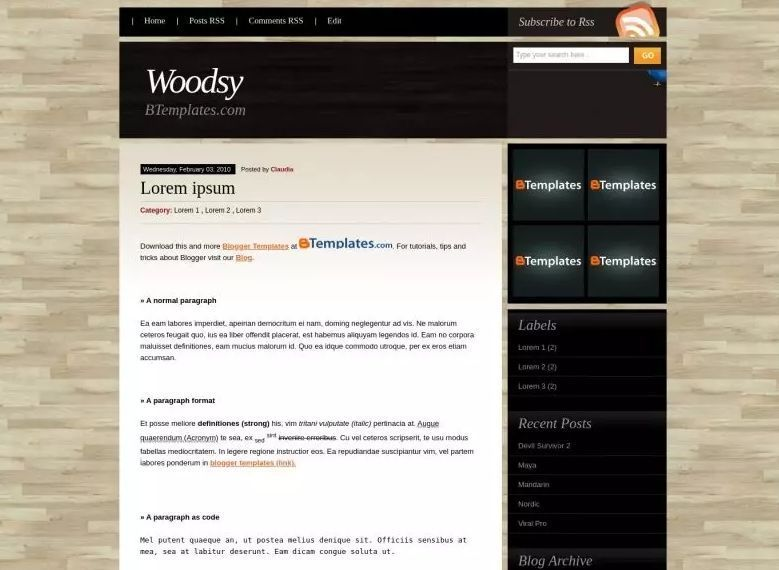 Woodsy - Wood Effect Blogger Template