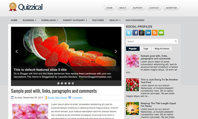 Quizzical - Two Column Blogger Template