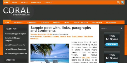 Coral - Professional Style Blogger Template