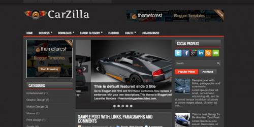 Carzilla - Three Column Blogger Template