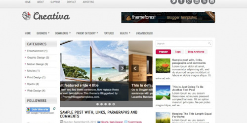 Creativa - Three Column Blogger Template