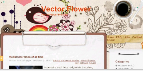 Vector Flower - Colorful Blogger Template
