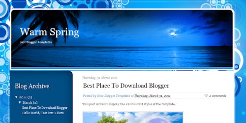 Warm Spring - Holiday Theme Blogger Template