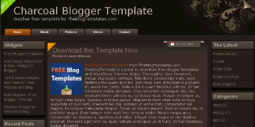 Charcoal - Simple Blogger Template