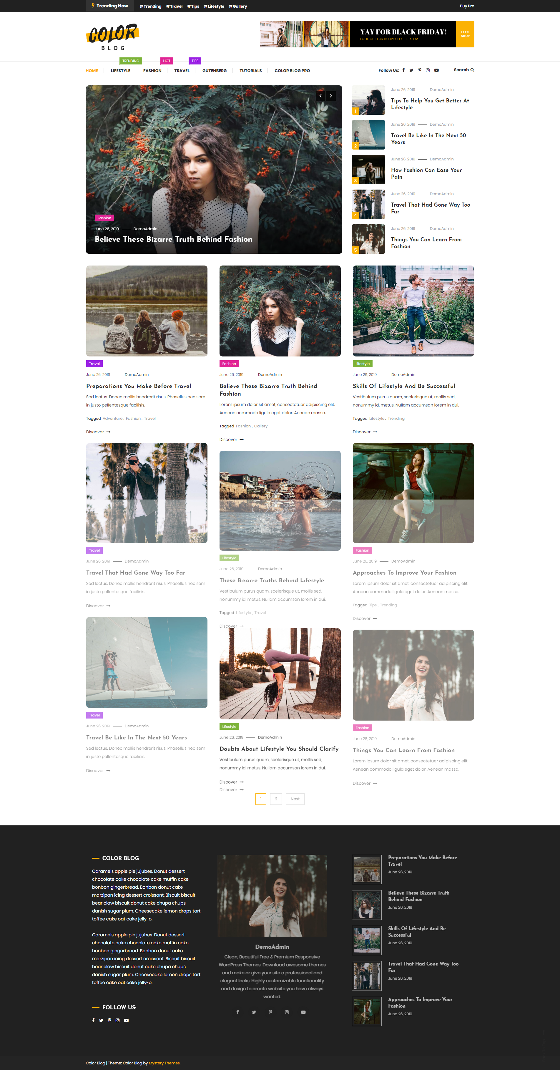 Color Blog - Free Clean and Colorful Wordpress Blog Theme
