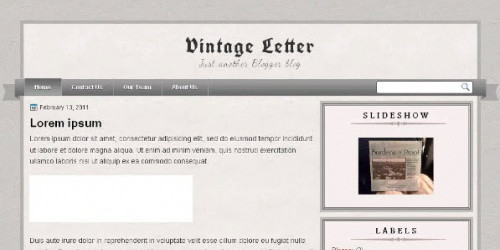 Vintage Letter - Simple Blogger Template