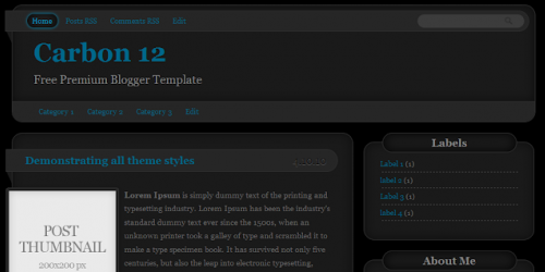 Carbon - Black Magazine Blogger Template
