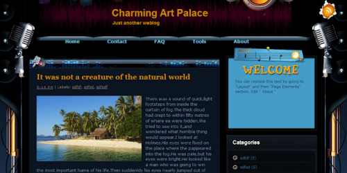 Charming Art Palace - Music Style Blogger Template