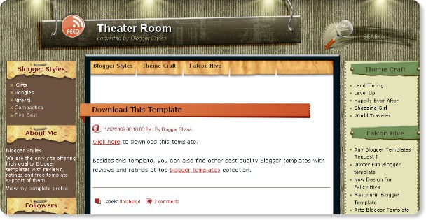 Theater Room - Stylish Blogger Template