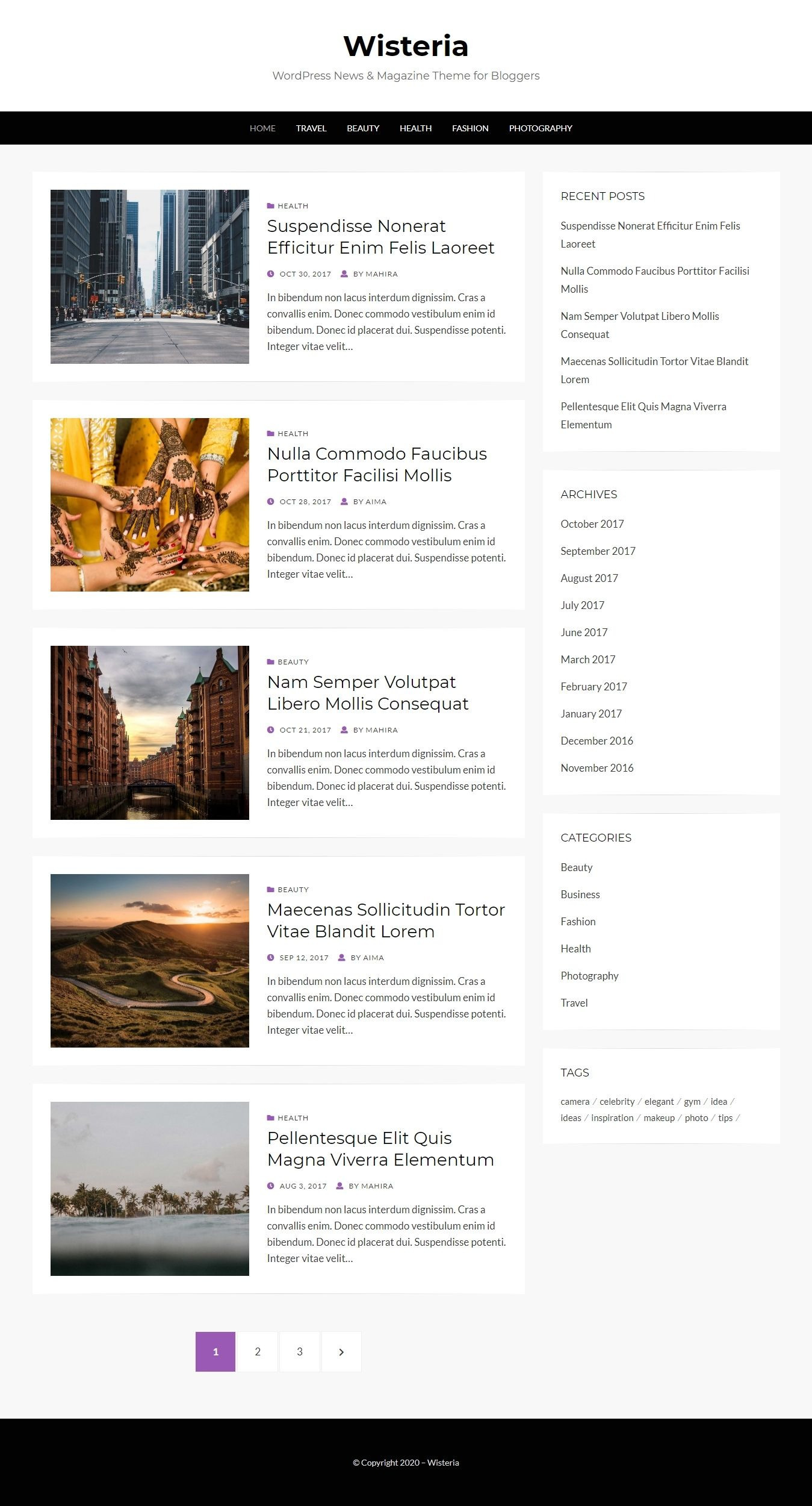 Wisteria - Free WordPress Blogging Theme