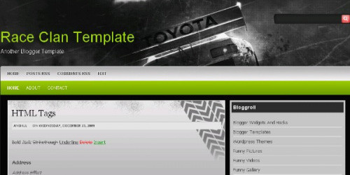 Race Clan - Rally Blogger Template
