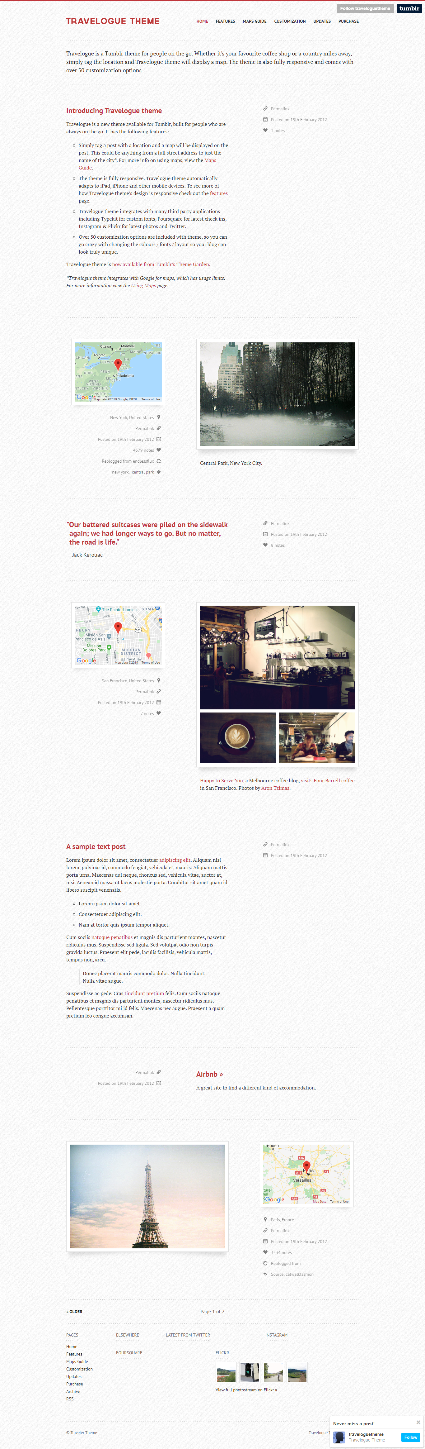 Travelogue - An Ultimate Traveler's Tumblr Theme