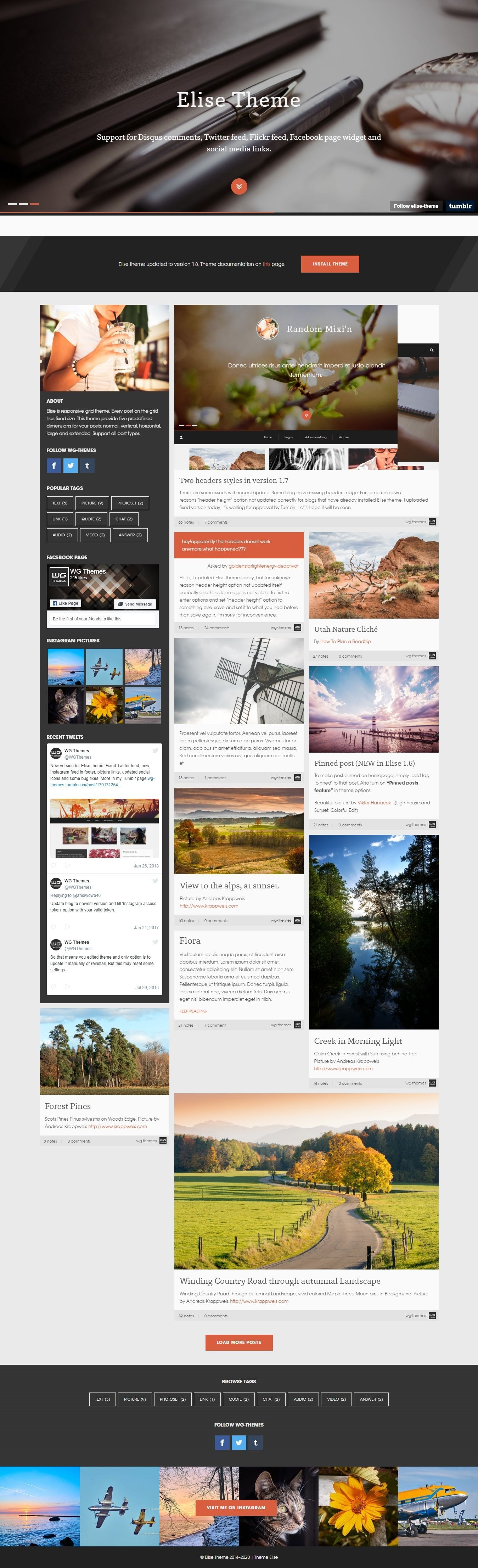 Elise - Free Modern Tumblr Blog theme