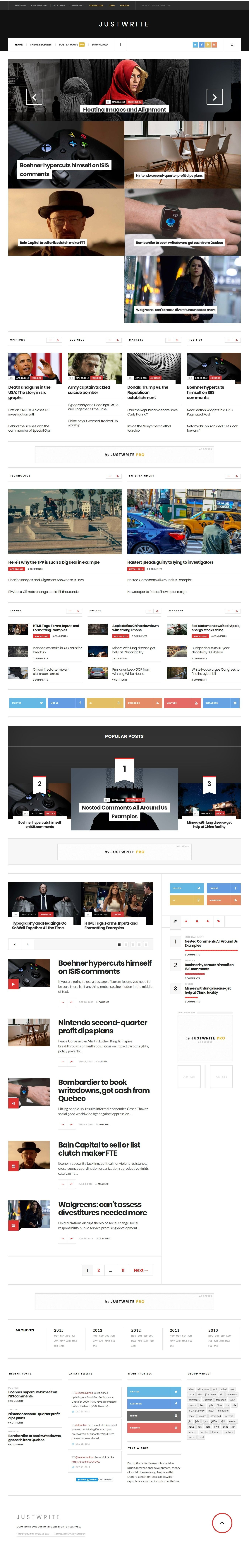 JustWrite - Free Modern WordPress Magazine Theme