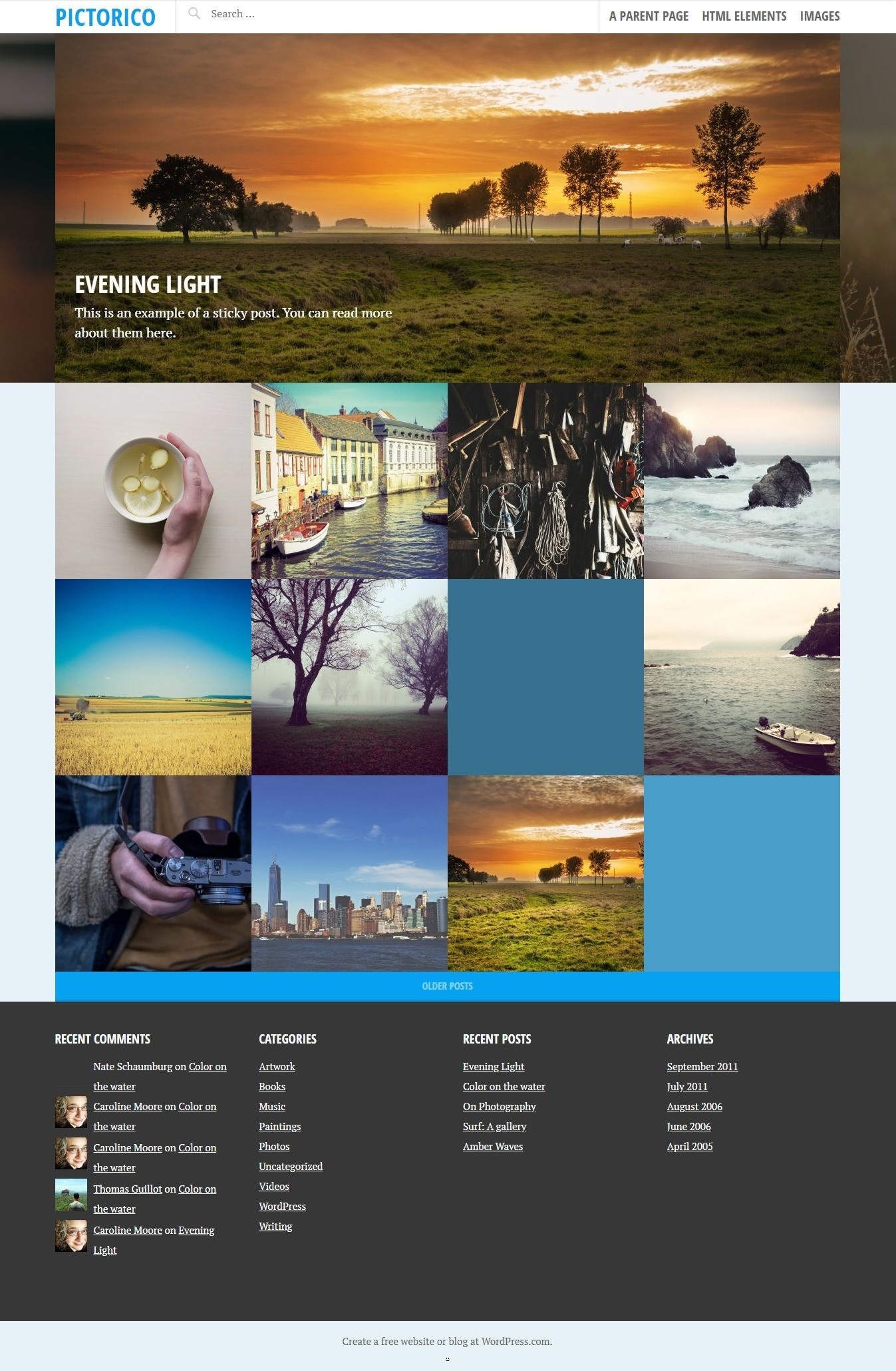 Pictorico - Free WordPress Grid-based Portfolio Theme