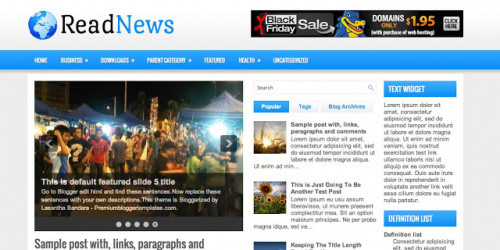 ReadNews - Three Column Blogger Template