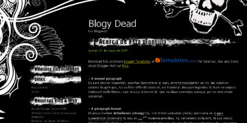 Blogy Dead - Metal Skull Blogger Template