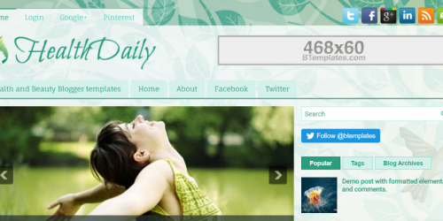 HealthDaily Blogger Template - Lush Green Template