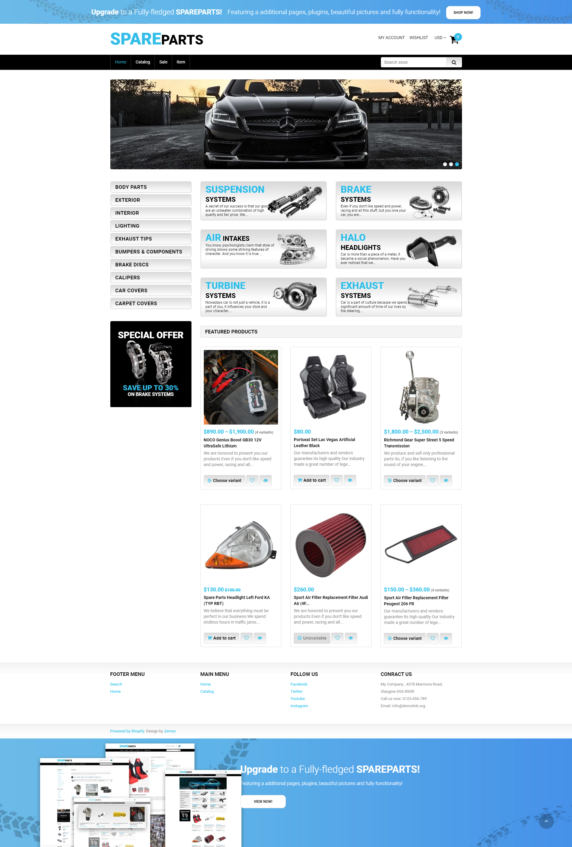 Spare Parts - Free Car Parts & Clean Shopify Theme