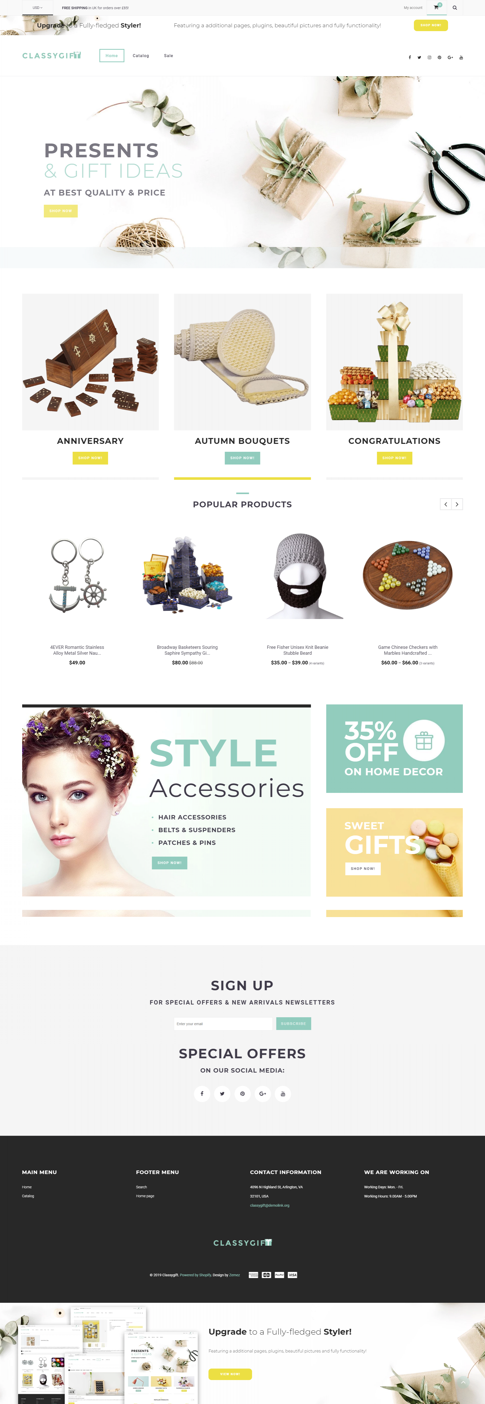 Classygift - Free Gifts & Accessories Shopify Theme