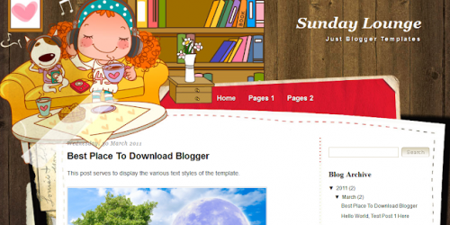 Sunday Lounge - Girly Blogger Template