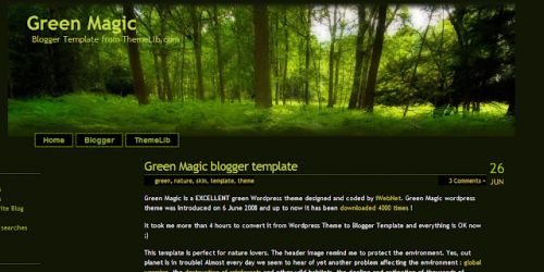 Green Magic - Nature Theme Blogger Template