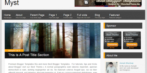 Myst - Simple Magazine Blogger Template