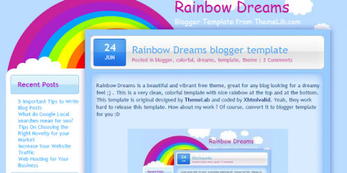 Rainbow Dreams - Bright Fun Blogger Template