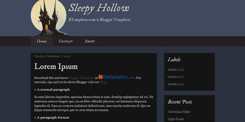 Sleepy Hollow - Halloween Blogger Template
