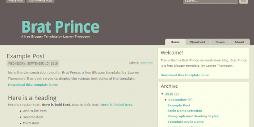 Brat Prince - Neutral Blogger Template