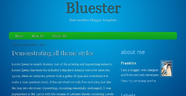Bluester - Simple Blue Blogger Template
