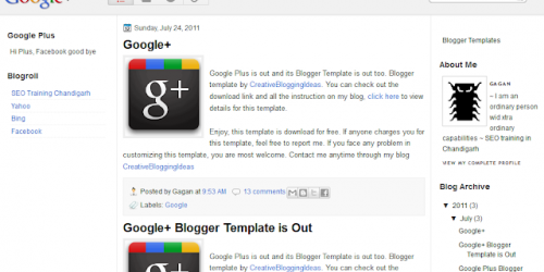 Google Plus Design - Blogger Template